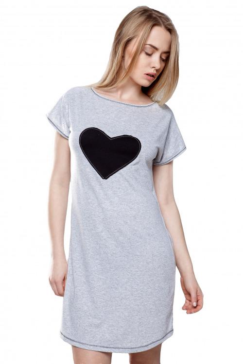 Dámská noční košilka Felisa s nášivkou srdce - šedá