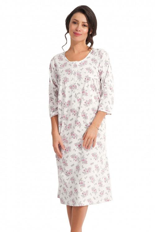 Dlouhá noční košile Dorota ecru s růžovými květy - bílá
