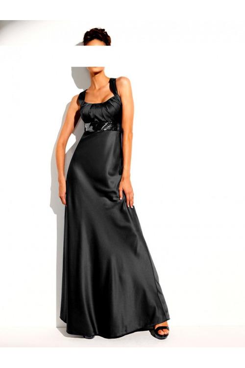 Dlouhé večerní saténové šaty zkrácená velikost (vel.40 skladem)