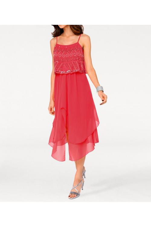 Koktejlové šaty Ashley Brooke na ramínka, také pro plnoštíhlé