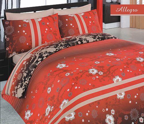 Prodloužené povlečení Allegro bavlněný satén - červená