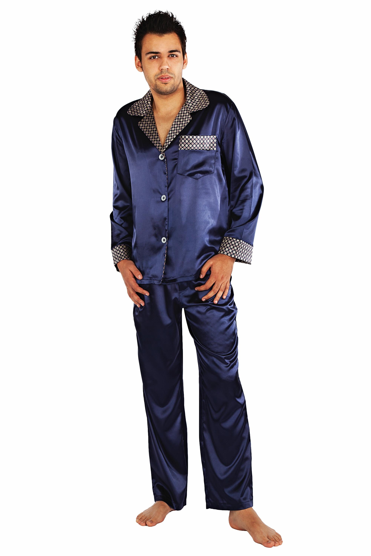 Saténové pánské pyžamo Adam - modrá