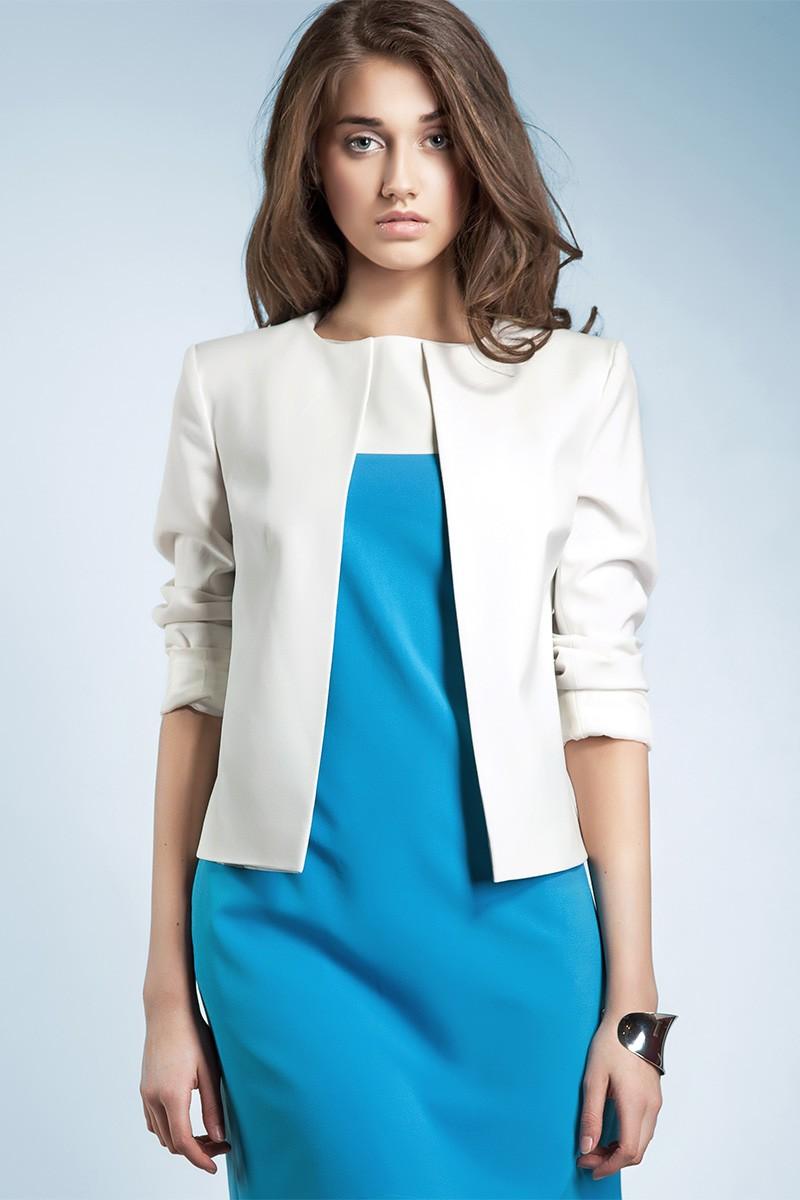 Bílé sako přes šaty NIFE