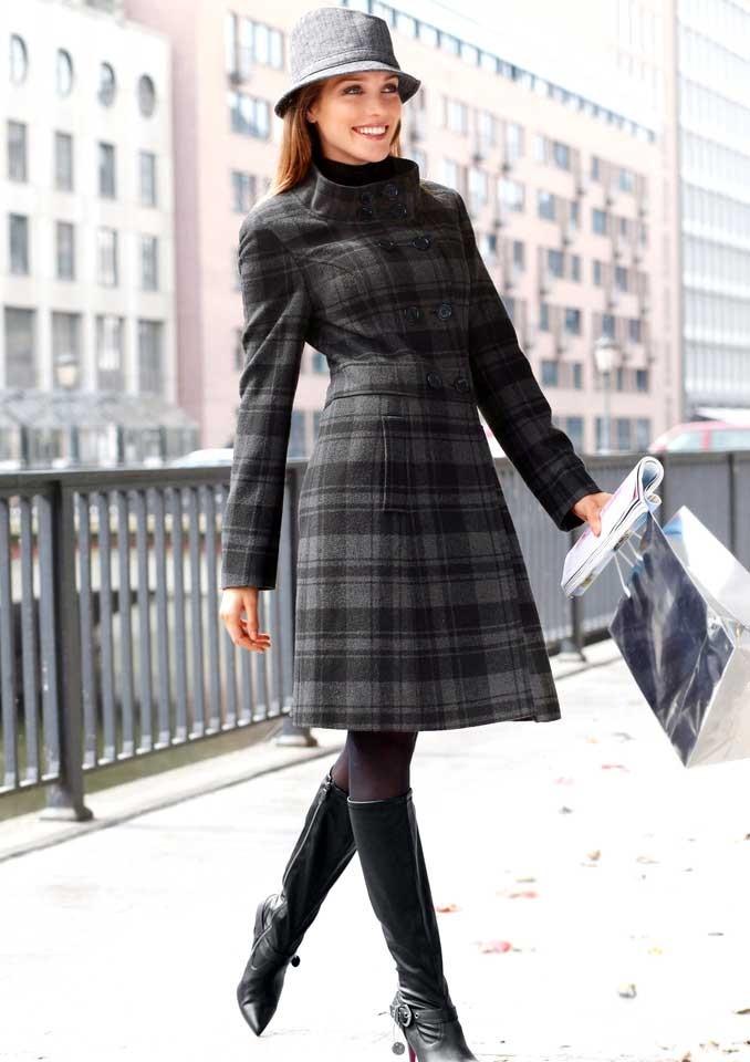 Vlněný kostkovaný dámský kabát, Vivance Collection (vel.34 skladem)