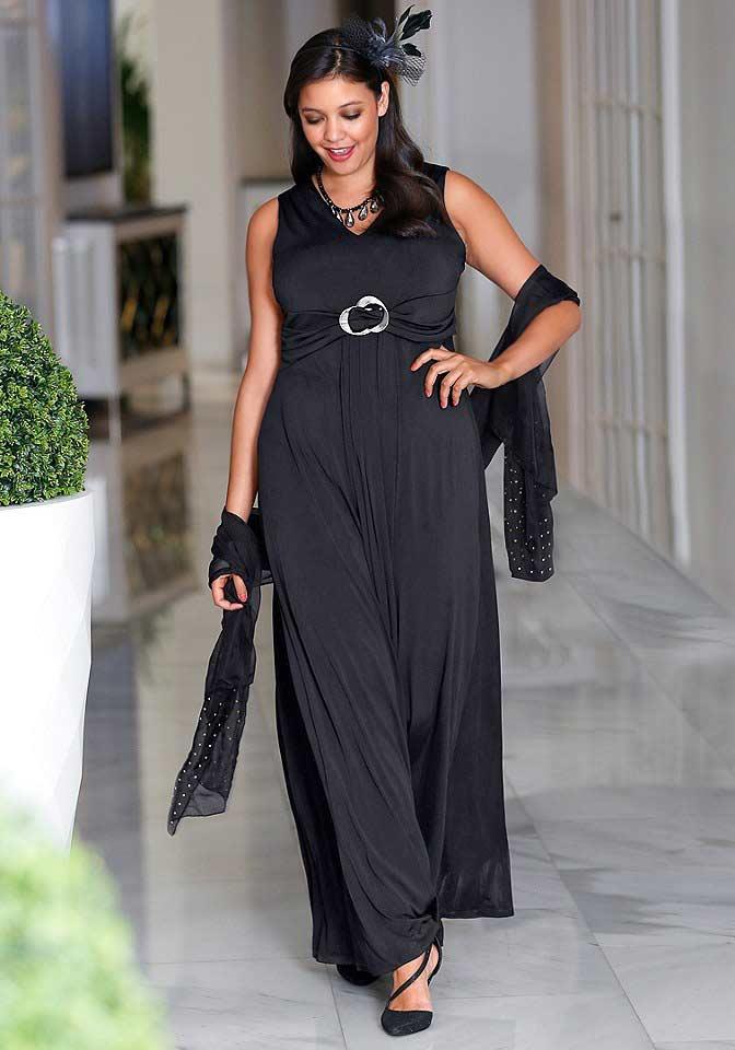 Dlouhé černé večerní šaty SHEEGO, dlouhé černé plesové šaty (vel.44 skladem)
