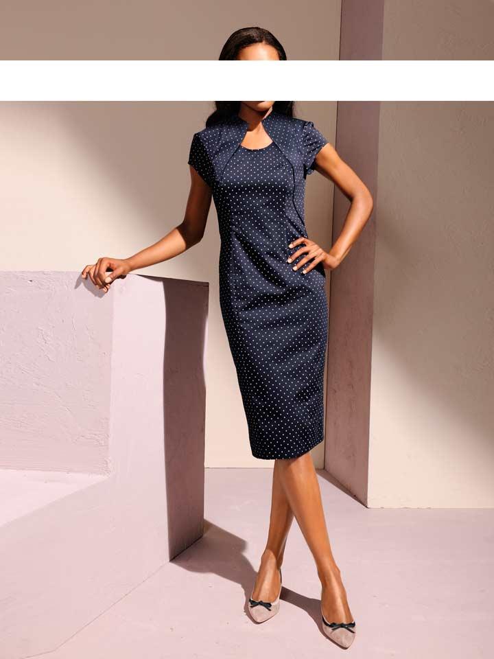 Pouzdrové puntíkované šaty S.Madan, puntíkaté šaty, šaty s puntíky (vel.38 skladem)