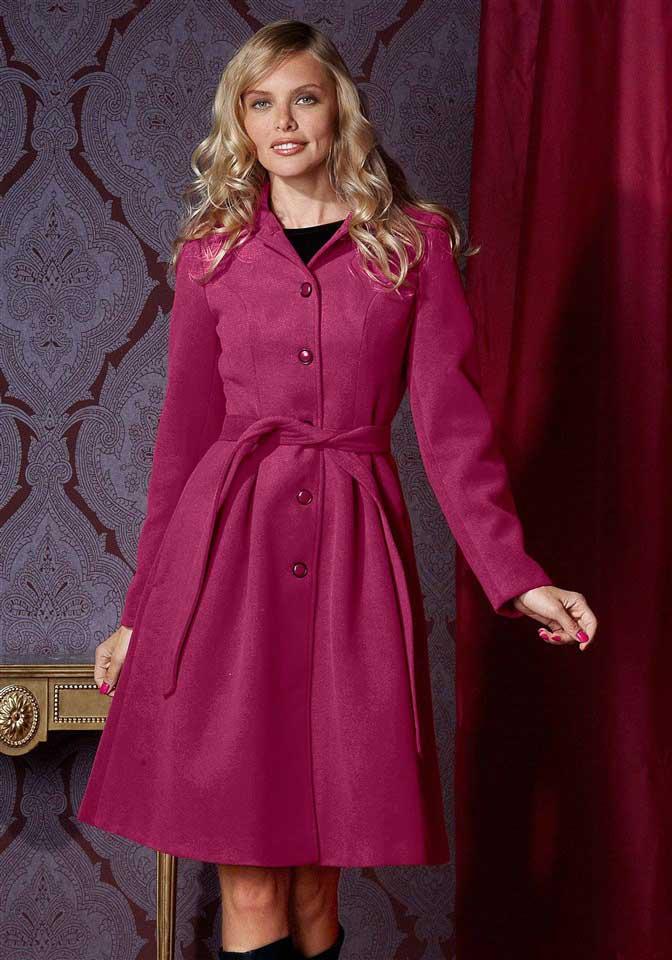 Kabáty, dámský kabát, delší růžový zimní kabát