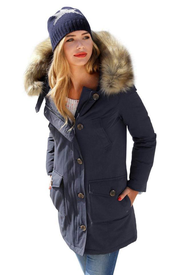 Dámské bundy, zimní bunda parka AJC se tkanou kožešinou