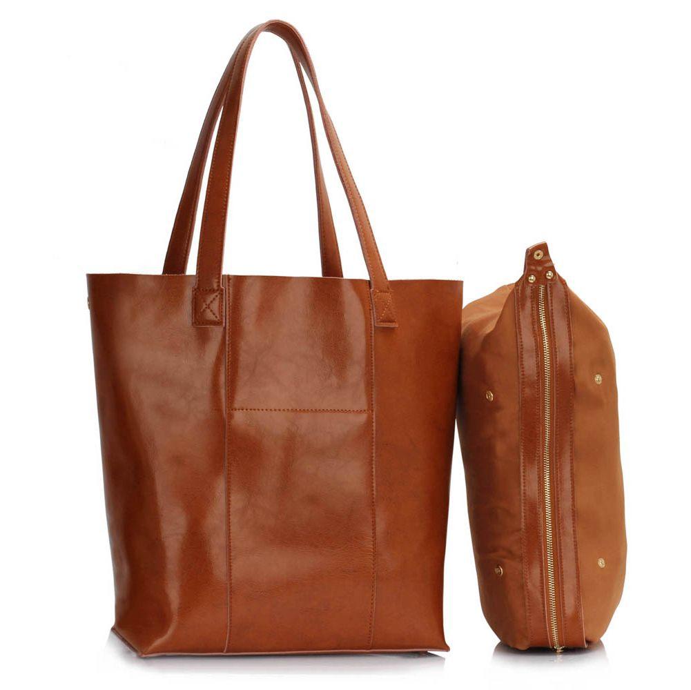 Dámská taška z pravé kůže, dámská velká kožená taška