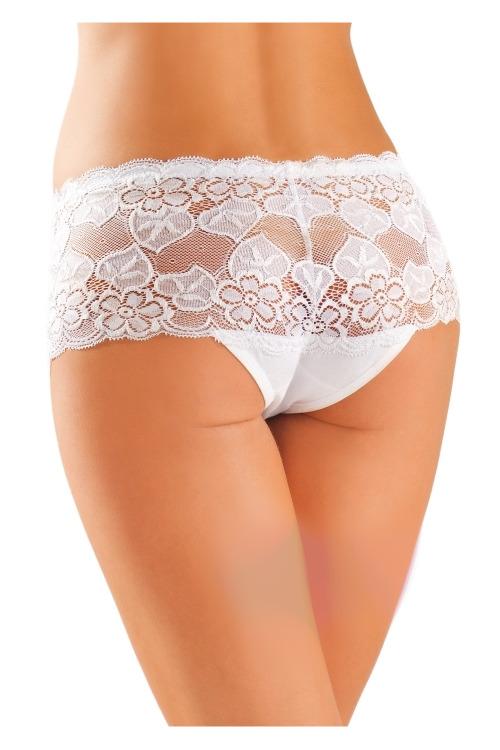 Dámské boxerkové kalhotky s krajkou 99 bílé