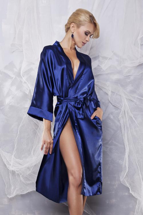 Saténový dámský župan 115 modrý - modrá