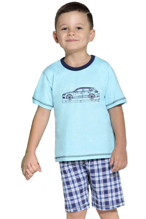 Dětské bavlněné pyžamo s autem modré