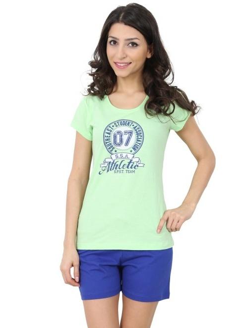 Bavlněné dámské pyžamo Monika - zelená