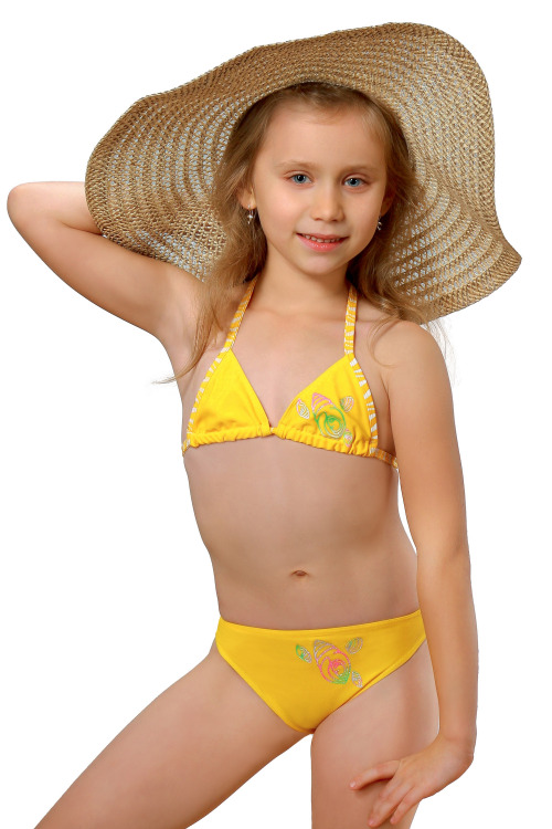 Plavky dívčí Julka III žluté - žlutá