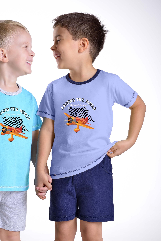 Chlapecké pyžamo Samuel s letadlem modré - modrá