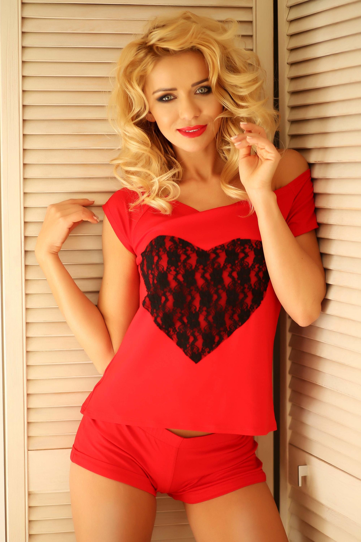 Krátké dámské pyžamo Rome červené - červená