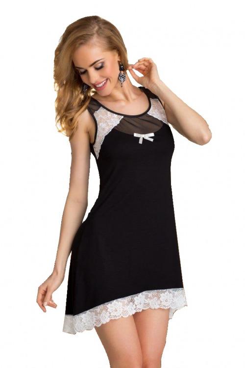 Dámská viskózová noční košilka Lilie černobílá