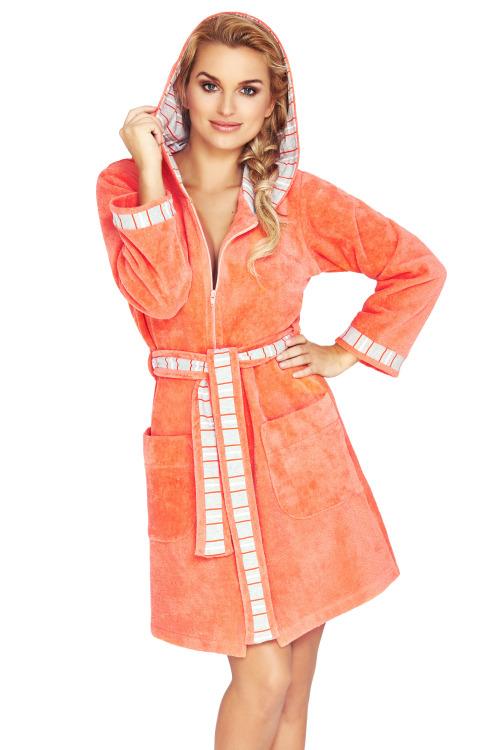 Froté župan na zip Rose oranžový - oranžová