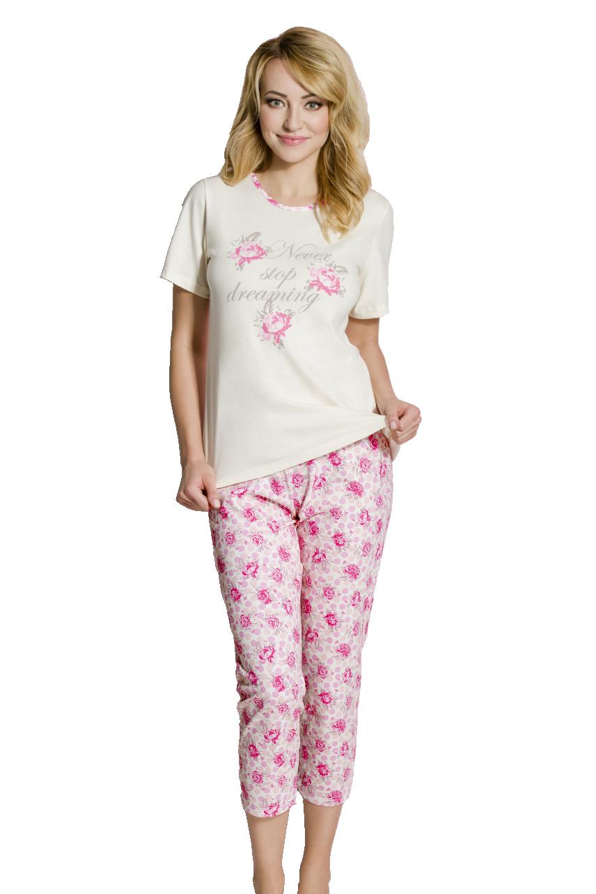 Dámské pyžamo Rosie růžičky - bílá