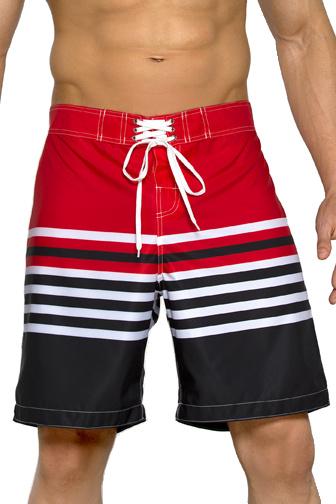 Plavkové bermudy Harry červeno-černé s  proužky - červená