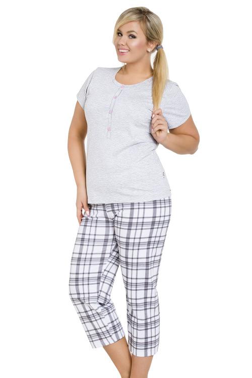 Dámské šedé bavlněné pyžamo pro plnoštíhlé Teresa