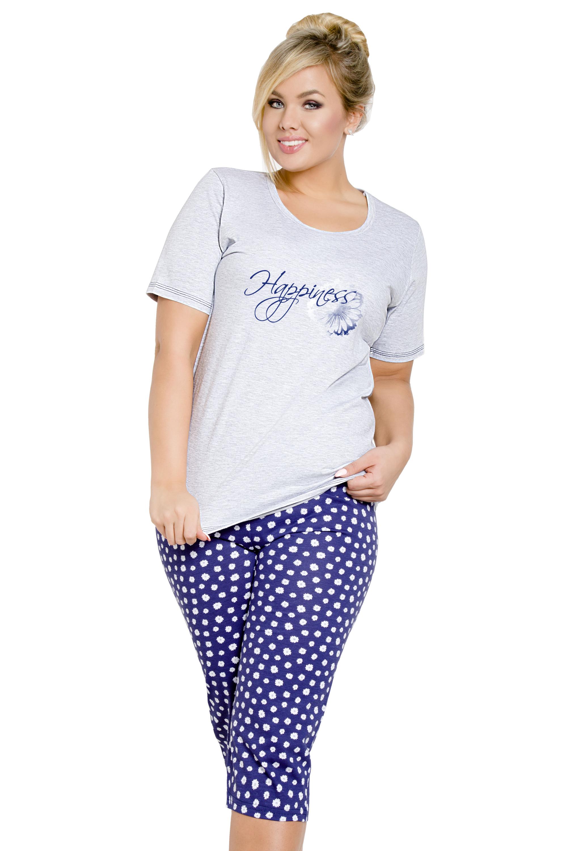 Dámské pyžamo pro plnoštíhlé Magda šedé - šedá