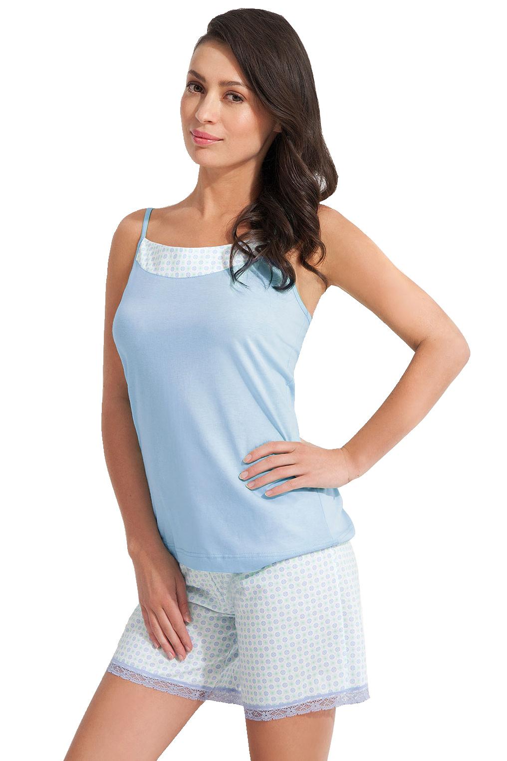 Dámské bavlněné pyžamo Oline mentolové - modrá