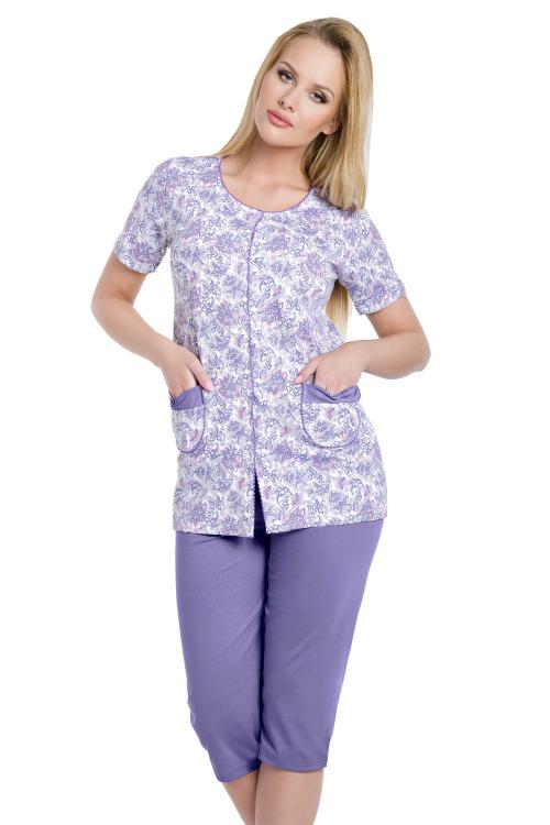 Dámské fialové bavlněné pyžamo Wera s knoflíky