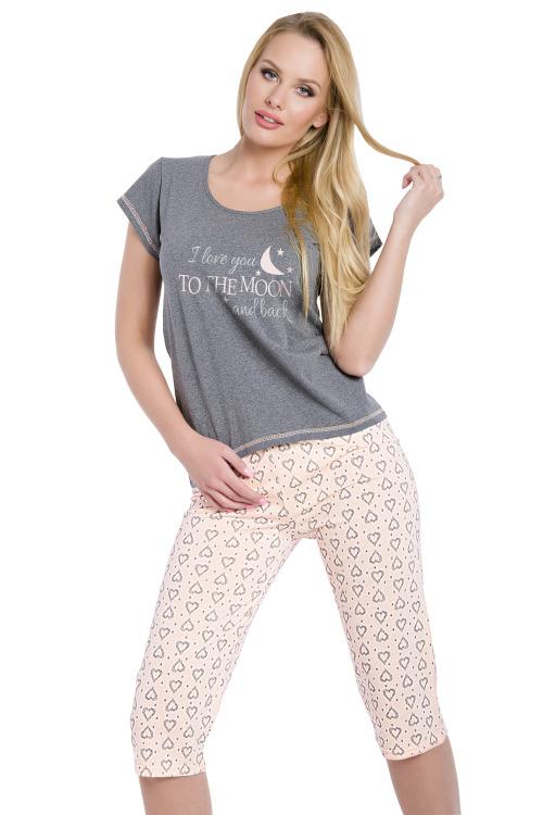 Dámské šedé bavlněné pyžamo Rika
