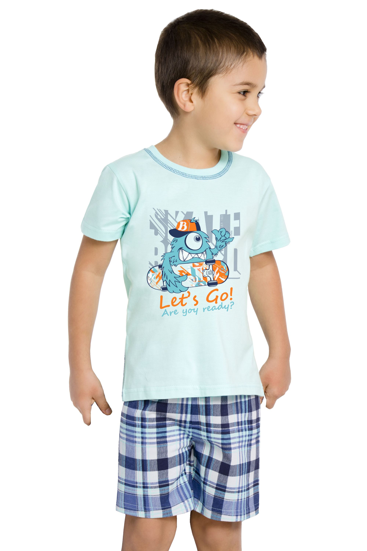 Bavlněné pyžamo Damián Monster Let´s go modré - tyrkysová