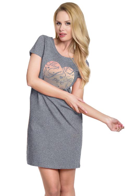 Dámská bavlněná noční košile Agnessa Love šedá