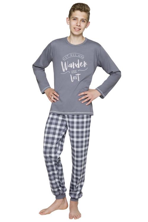 Chlapecké bavlněné pyžamo Miloš tmavě šedé