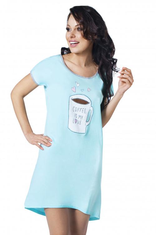 Dámská bavlněná noční košile Coffee tyrkysová