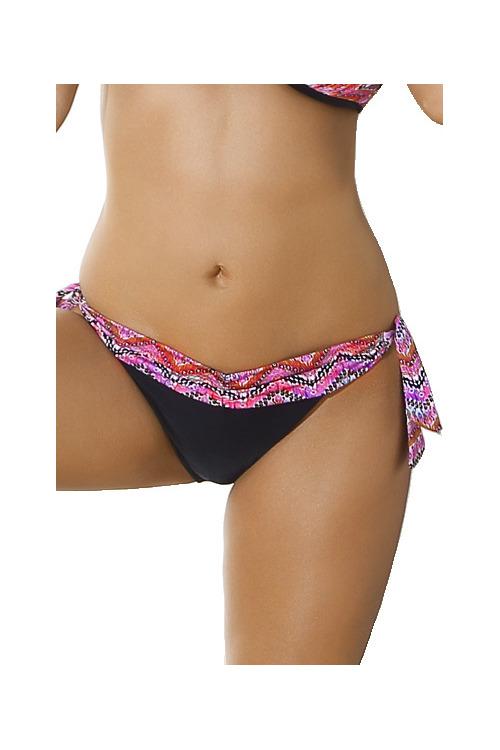 Plavkové kalhotky Abra černé s fialovým zdobením