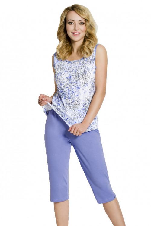 Dámské modré bavlněné pyžamo Bela