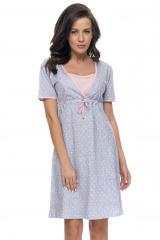 Bavlněná těhotenská a kojící noční košile Frances se srdíčky - modrá