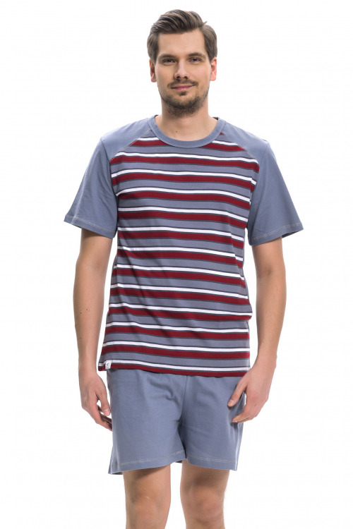 Pánské pyžamo Quido s proužky - šedá