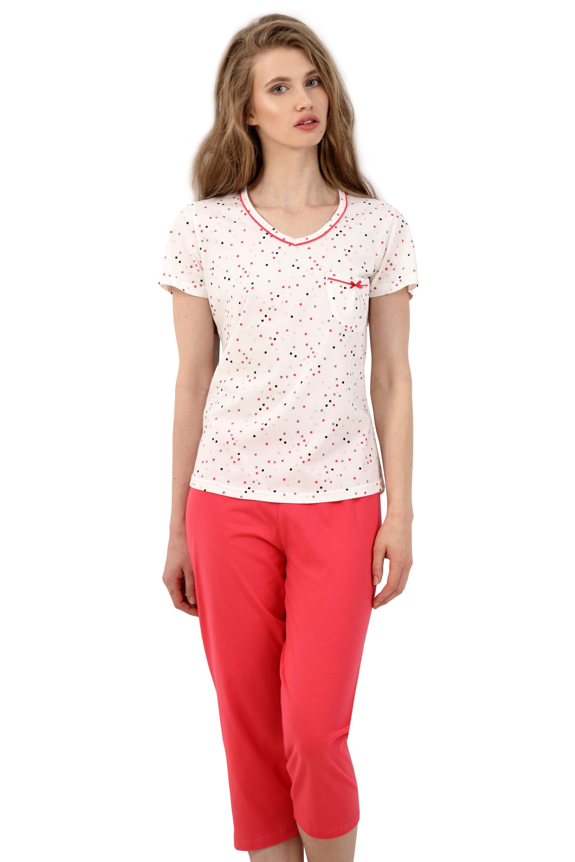Dámské pyžamo Markéta s puntíky - červená