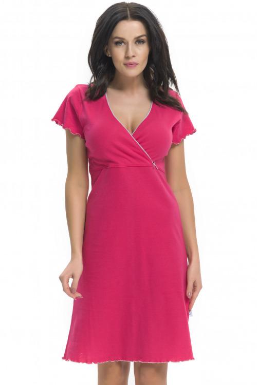Bavlněná těhotenská a kojící noční košile Ruby malinová - růžová