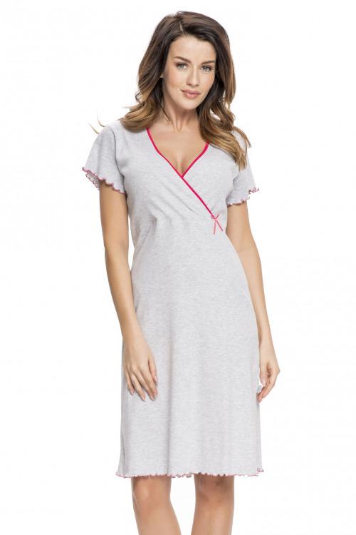 Bavlněná těhotenská a kojící noční košile Ruby šedá