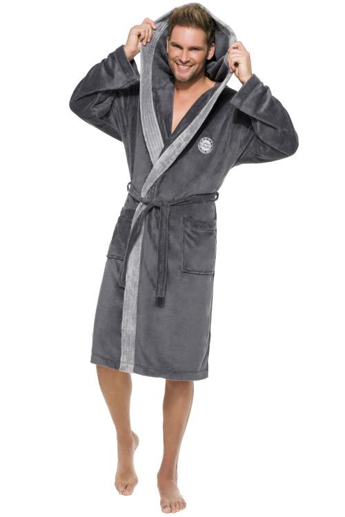 Pánský dlouhý župan George tmavě šedý - šedá