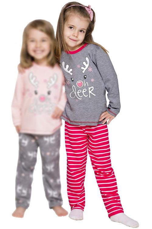 Dívčí vánoční pyžamo se sobem Oda šedé