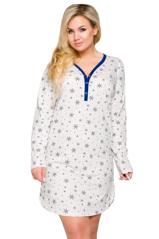 Noční košile pro plnoštíhlé Tamara vločky - šedá