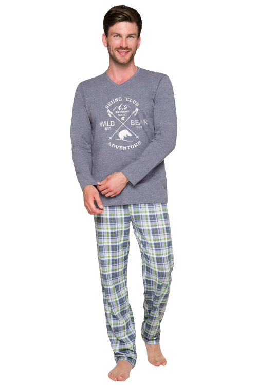 Pánské pyžamo Artur šedé dlouhé - šedá