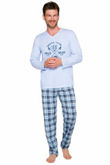 Pánské pyžamo Artur modré - modrá