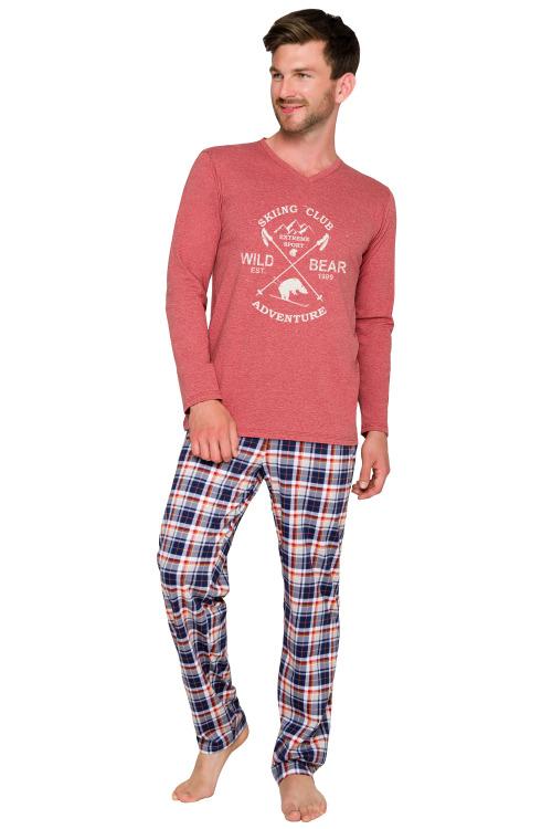 Pánské pyžamo Artur vínové dlouhé - vínová