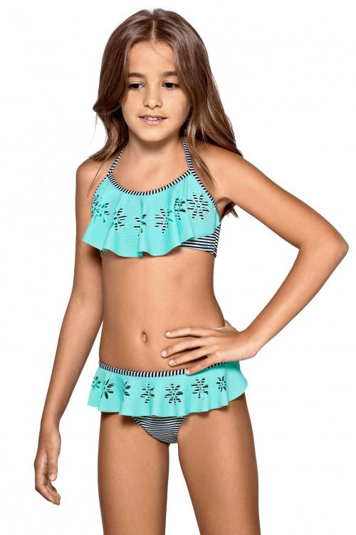 Dívčí plavky lambada Terezka květinky - pestrobarevné