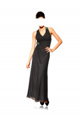 Dlouhé černé společenské šaty s odhalenými zády Heine (vel.34,38 skladem)