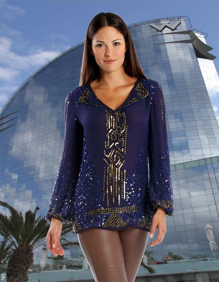 Třpytivá značková hedvábná dámská tunika