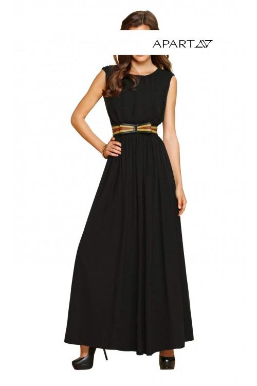 Dlouhé černé šifonové šaty APART (vel.34 skladem levně)